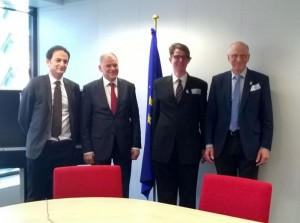 Endocrine Society members meet with European Commissioner for Health and Food Safety in Brussels, Belgium to discuss impact of EDCs on human health. From left to right – Remy Slama, PhD; Commisioner Vytenis Andriukaitis, MD; Leonardo Trasande, MD, MPP; and Jean-Pierre Bourguignon, MD.
