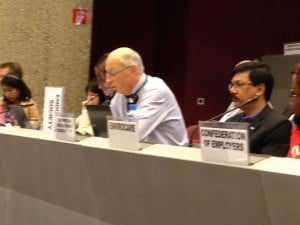 Jean Pierre Bourguignon, MD, PhD, delivers a statement on behalf of the Society during the plenary of the International Conference on Chemicals Management in Geneva, Switzerland.