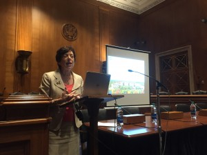 National Institute of Environmental Health Sciences (NIEHS) Director Linda S. Birnbaum, PhD, DABT, ATS, speaks at the Congressional briefing on 25 years of research on endocrine-disrupting chemicals on Sept. 21, 2016.