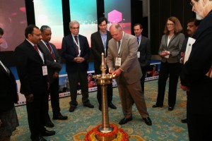 """Andrew Ahrman, MD, lights the ceremonial """"flame of knowledge"""" to kick off Diabetes Awareness Month at the launch of Dimensions in Diabetes in Chennai, India."""